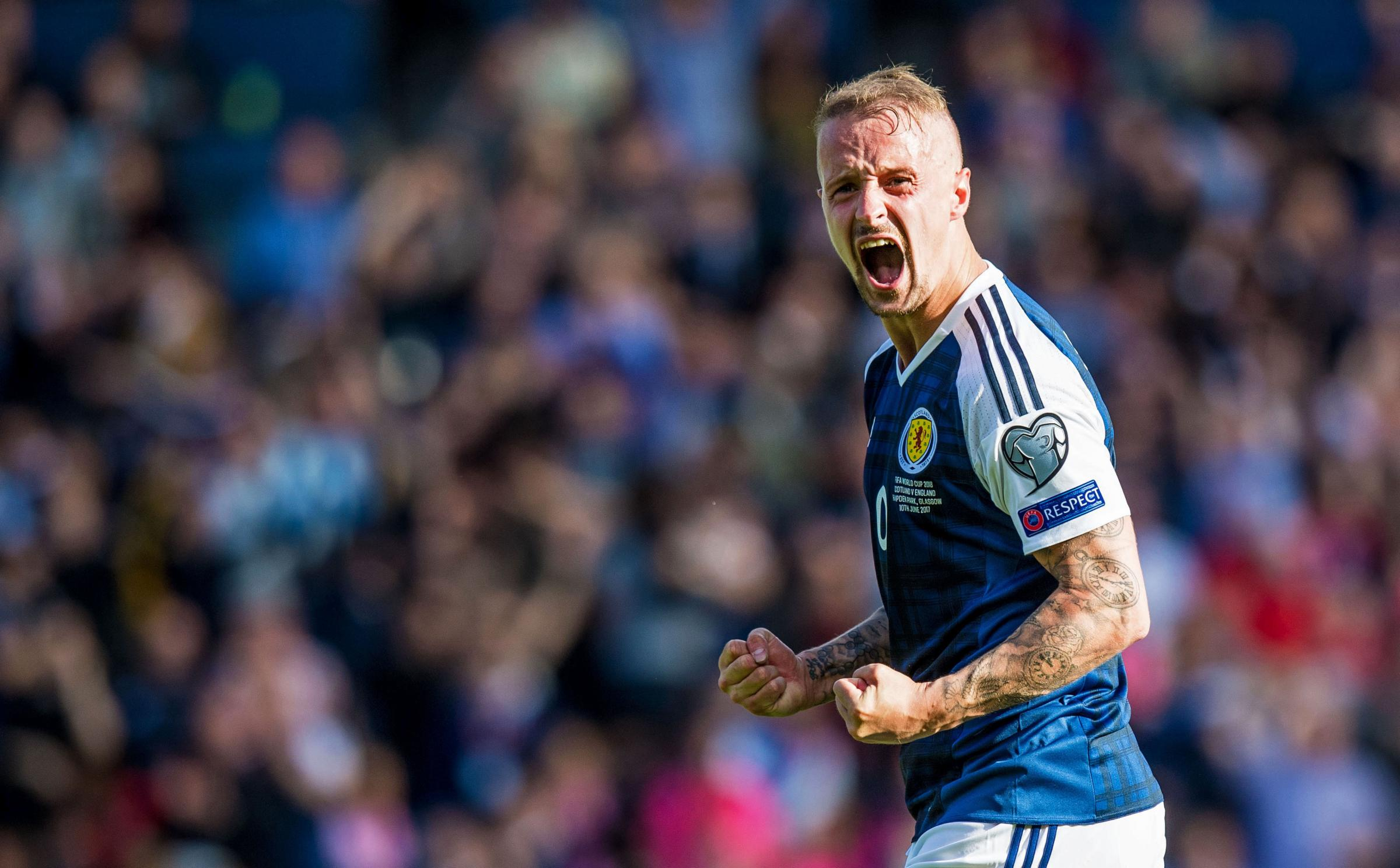 10/03/17 WORLD CUP QUALIFIER . SCOTLAND v ENGLAND. HAMPDEN PARK - GLASGOW. Scotland's Leigh Griffiths celebrates his first goal..