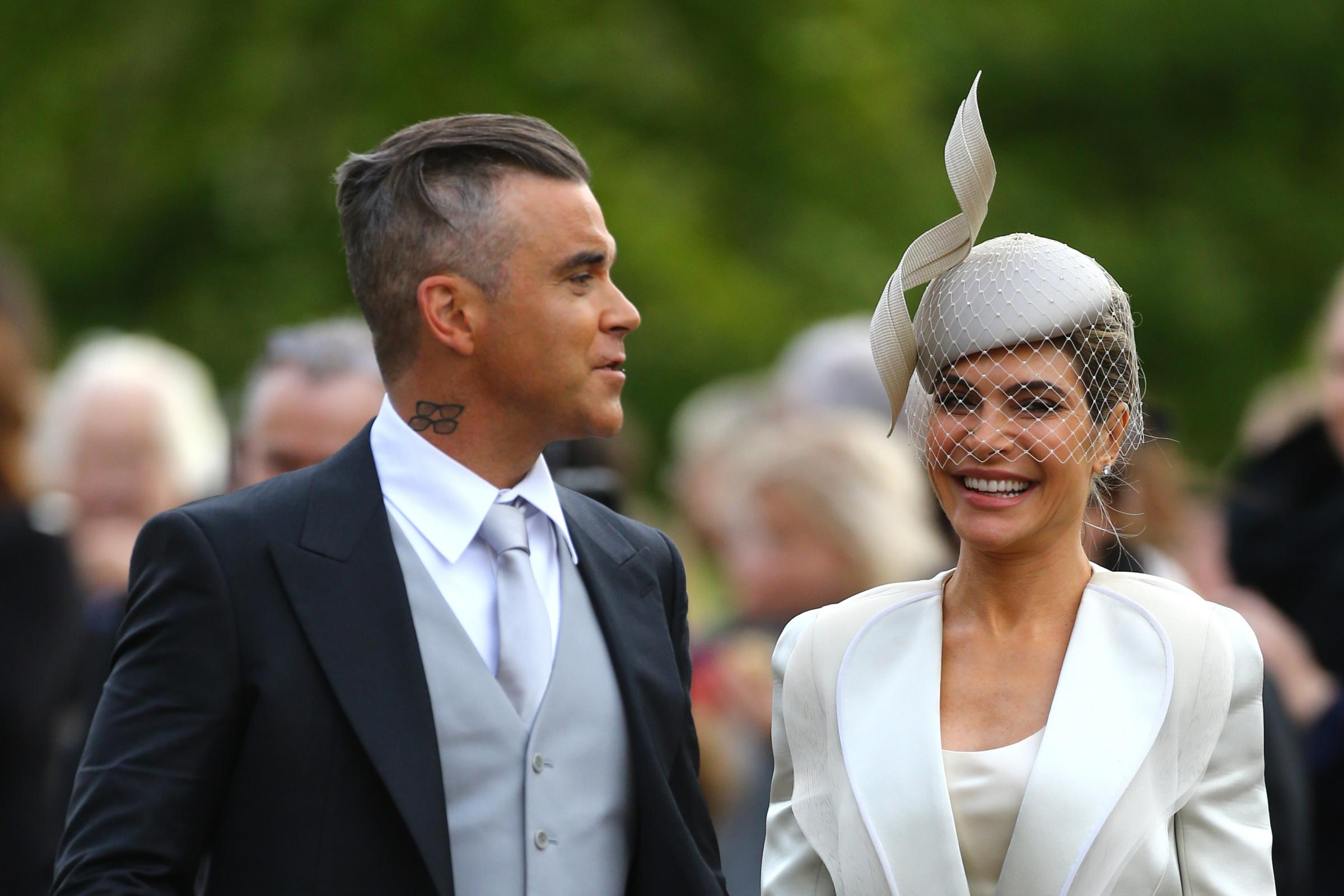 Robbie Williams and Ayda Field arrive at the wedding