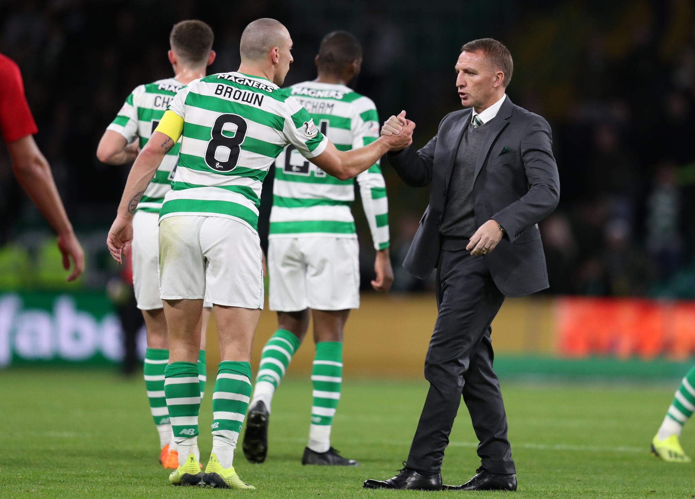 Celtic's Scott Brown and manager Brendan Rodgers after  the UEFA Europa League Play-Off, Second Leg match at Celtic Park, Glasgow. PRESS ASSOCIATION Photo. Picture date: Thursday August 30, 2018. See PA story SOCCER Celtic. Photo credit