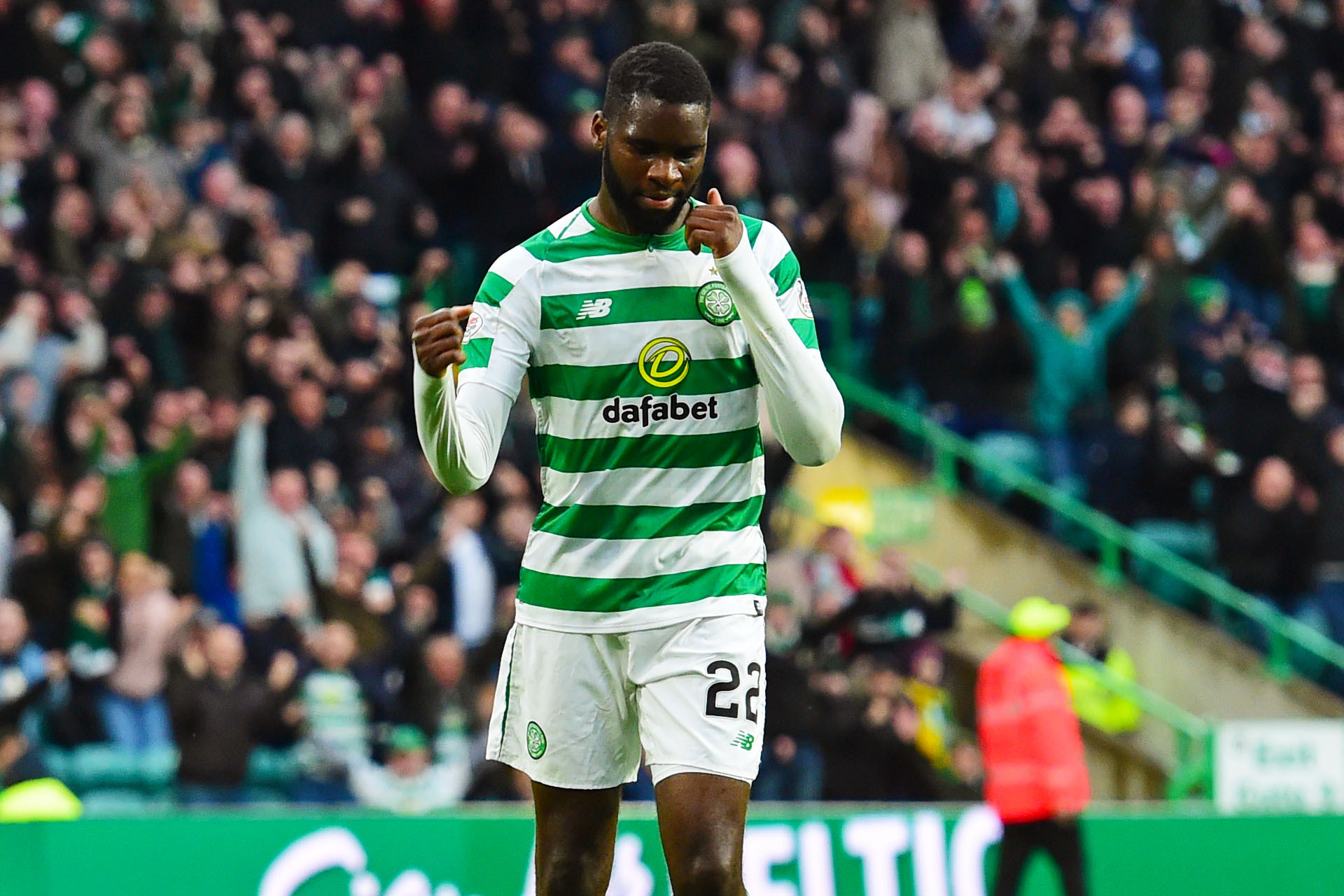 20/10/18 LADBROKES PREMIERSHIP.CELTIC v HIBERNIAN (4-2).CELTIC PARK - GLASGOW.Celtic's Odsonne Edouard celebrates his first goal.