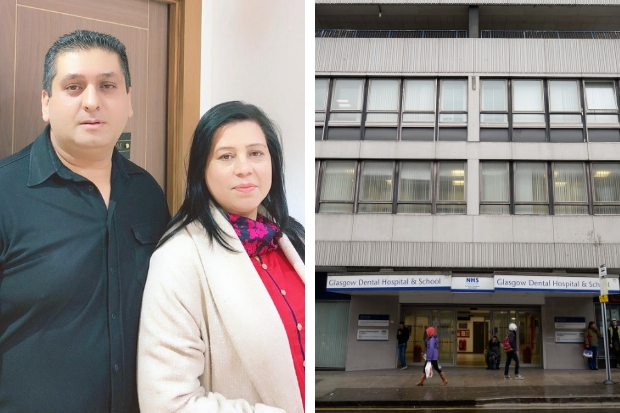 Nadeem and Ghazala Hussain (left) say a racist remark was made to their son at Glasgow Dental Hospital (right)