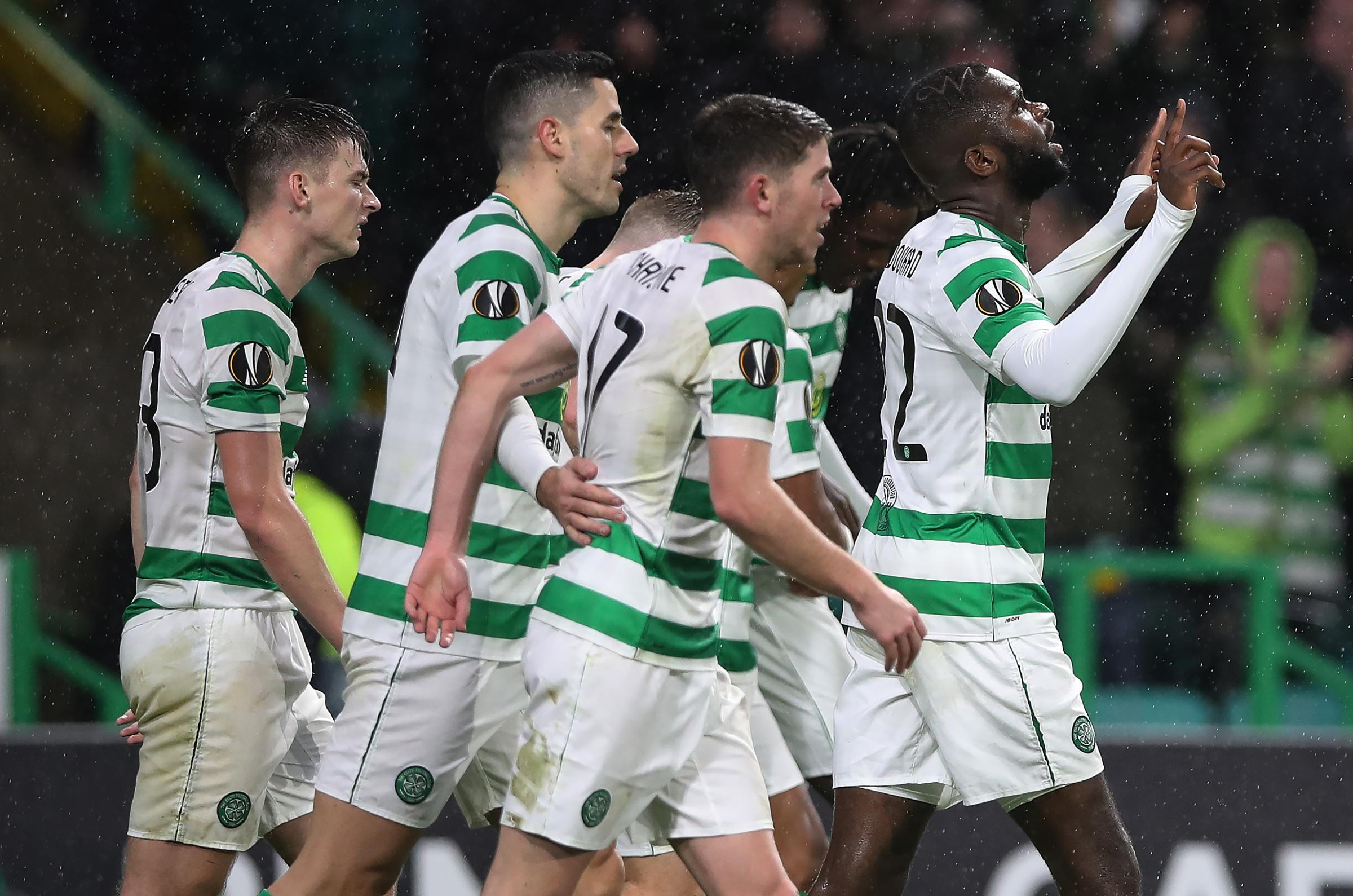 GLASGOW, SCOTLAND - NOVEMBER 08: Odsonne Edouard of Celtic celebrates after he scores his sides second goal during the UEFA Europa League Group B match between Celtic and RB Leipzig at Celtic Park on November 8, 2018 in Glasgow, United Kingdom. (Photo by