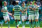 14/07/18 PRE-SEASON FRIENDLY. CELTIC v STANDARD LIEGE (4-1) . CELTIC PARK - GLASGOW. The Celtic players celebrate with Mikey Johnstone (centre) after his goal..