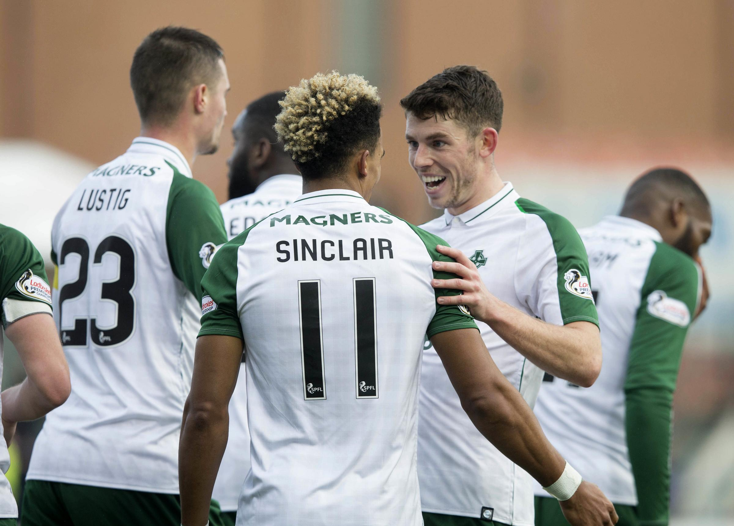 Celtic�s Scott Sinclair (back to camera) celebrates scoring his side's second goal of the game with Ryan Christie during the Ladbrokes Scottish Premiership match at Hope CBD Stadium, Hamilton. PRESS ASSOCIATION Photo. Picture date: Saturday No
