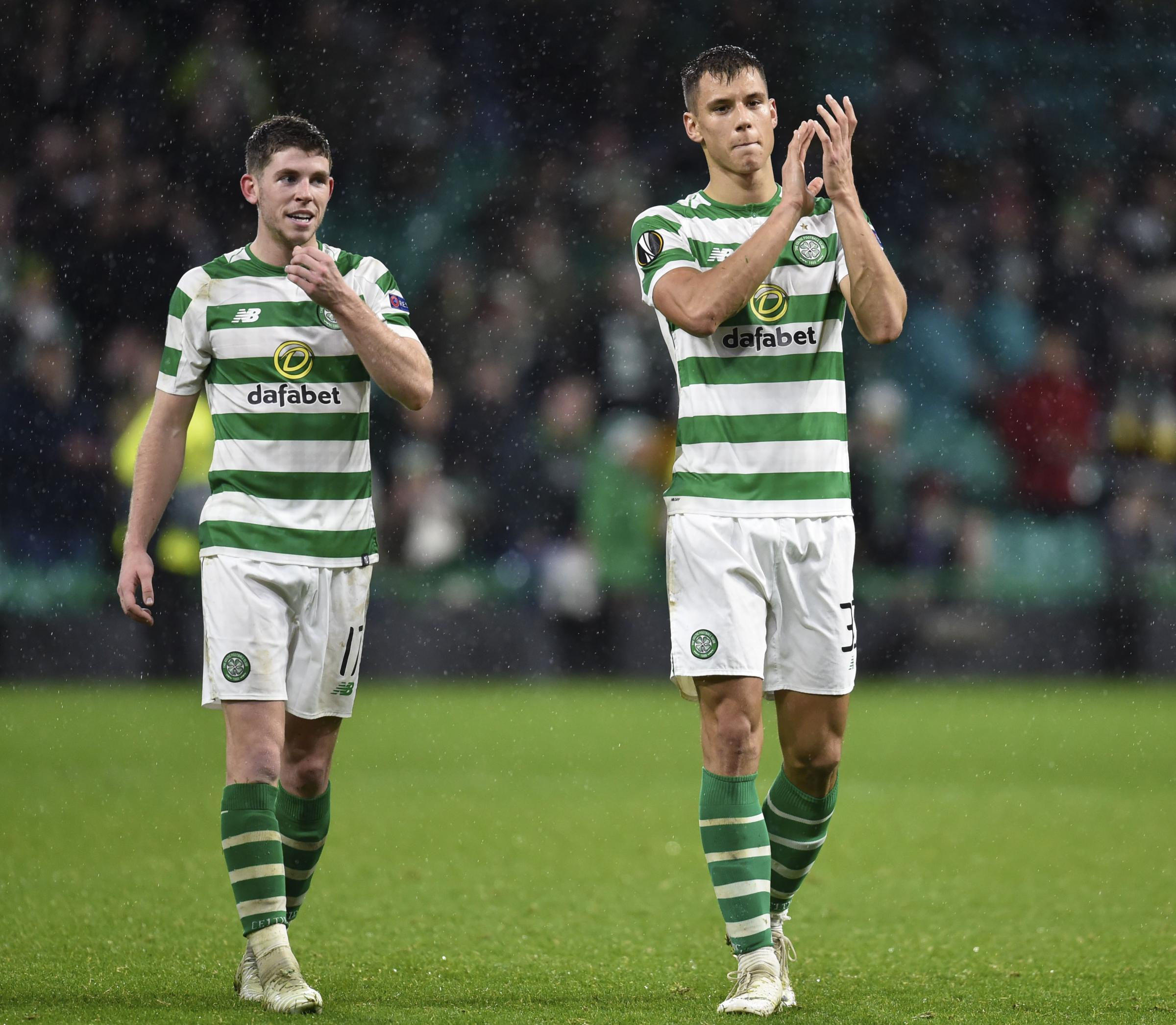 08/11/18 UEFA EUROPA LEAGUE GROUP B.CELTIC v RB LEIPZIG (2-1).CELTIC PARK - GLASGOW.Celtic's Filip Benkovic (R) and Ryan Christie celebrate at full time..