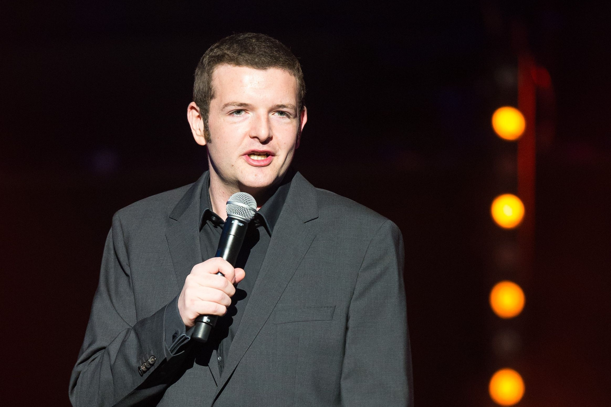 Comedian Kevin Bridges poses with staff at Glasgow cinema