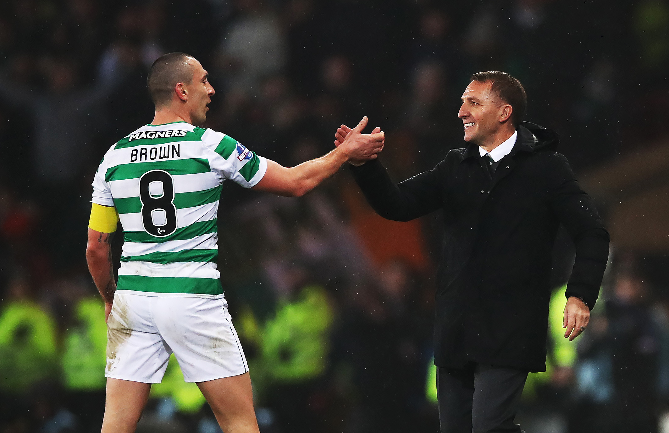 GLASGOW, SCOTLAND - DECEMBER 02: Scott Brown and Celtic manager Brendan Rodgers congratulate each other during the Betfred Cup Final between Celtic and Aberdeen at Hampden Park on December 2, 2018 in Glasgow, Scotland. (Photo by Ian MacNicol/Getty Images)