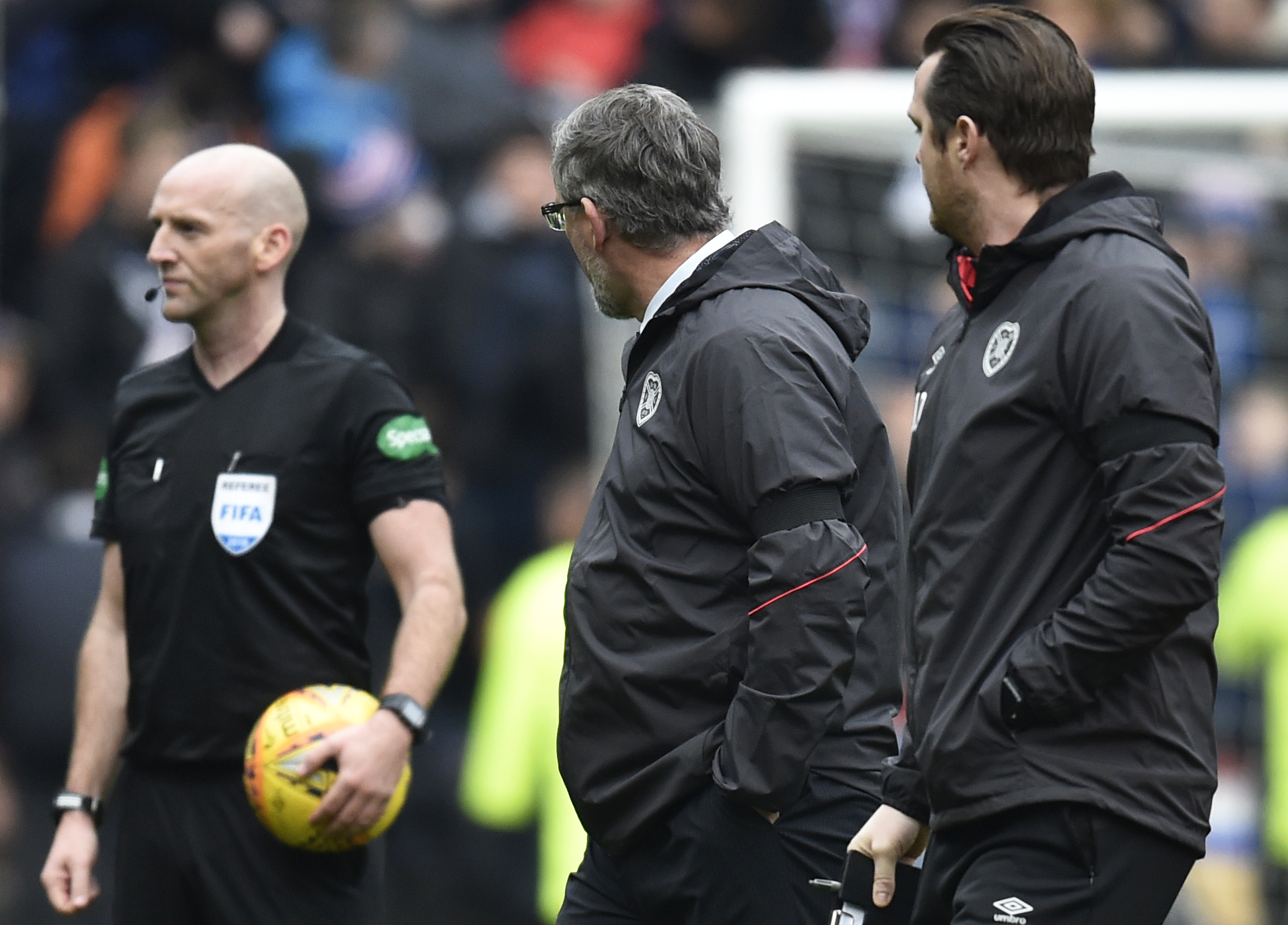 Craig Levein (right) and referee Bobby Madden