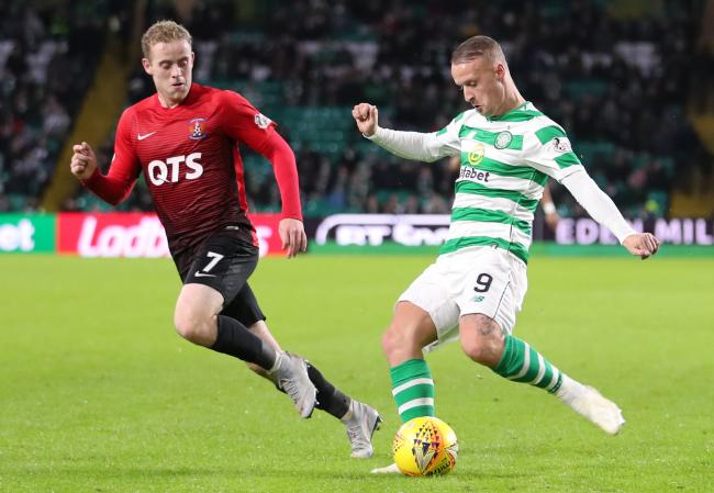Celtic's Leigh Griffiths and Kilmarnock's Rory McKenzie battle for the ball during the Ladbrokes Scottish Premiership match at Celtic Park, Glasgow. PRESS ASSOCIATION Photo. Picture date: Saturday December 8, 2018. See PA story SOCCER Celtic. Phot