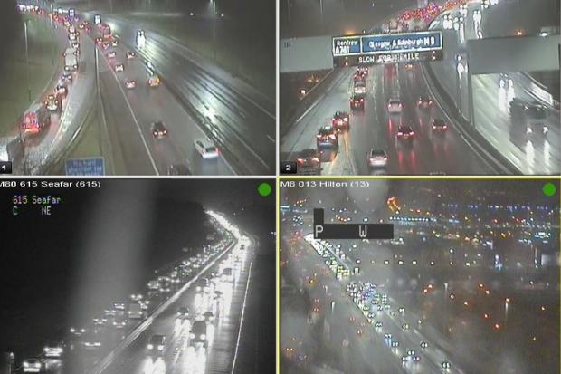 Glasgow's motorways grind to a halt as workers rush back after festive break