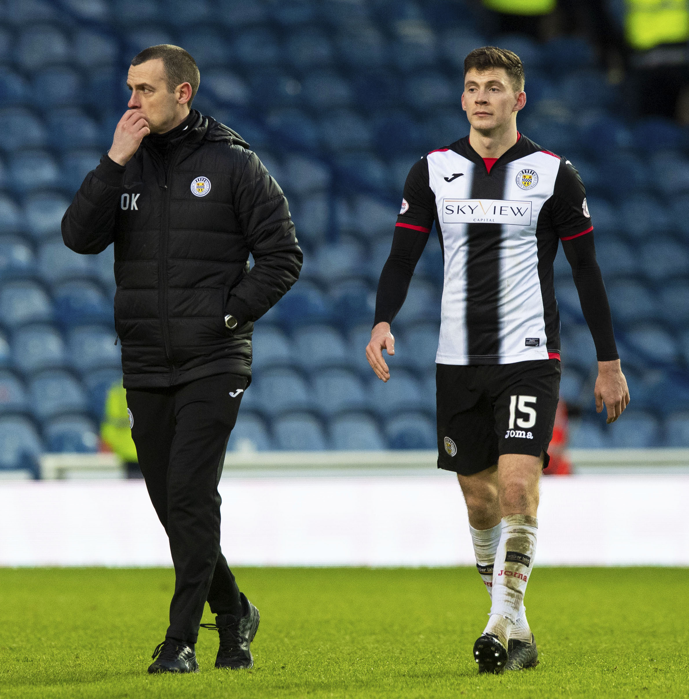 St Mirren manager Oran Kearney (L) and Jack Baird
