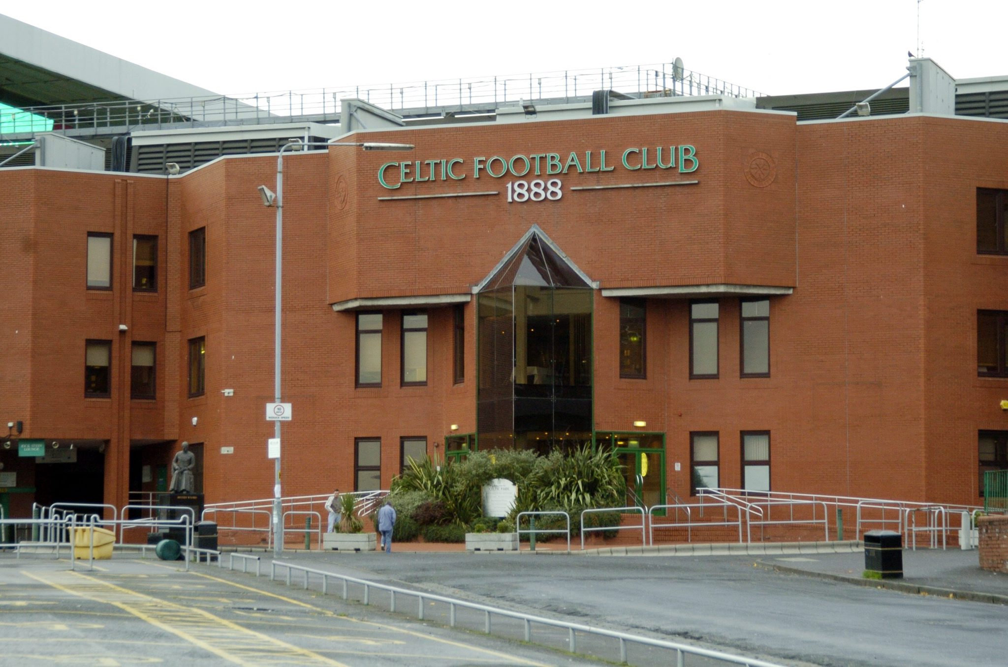 Gv of Celtic Park football stadium in Parkhead...