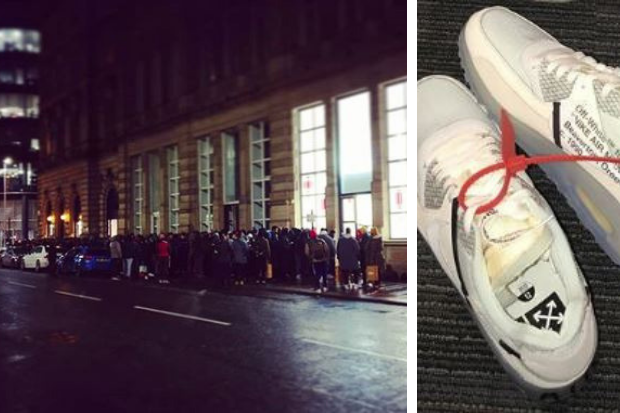 What are the Off-White x Nike Air Max 90 trainers Glasgow shoppers queued for?