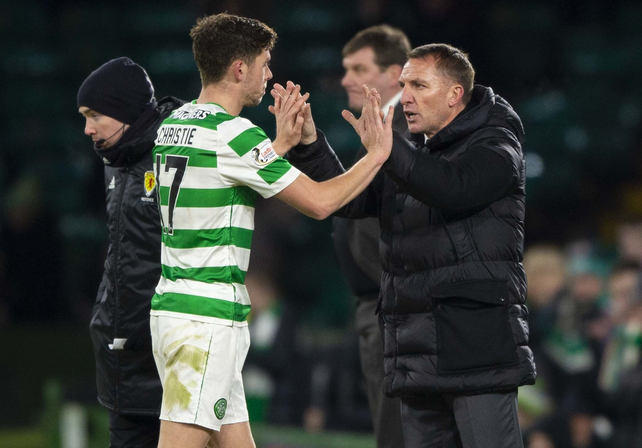 30/01/19 LADBROKES PREMIERSHIP.CELTIC v ST JOHNSTONE (2-0).CELTIC PARK - GLASGOW.Celtic's Ryan Christie (left) with manager Brendan Rodgers.