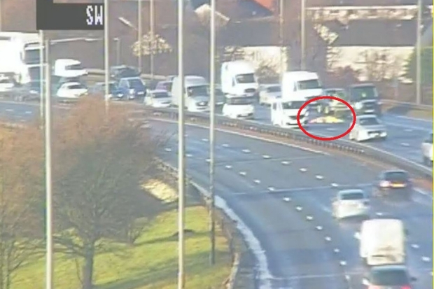 Squashed BOUNCY CASTLE on M8 causes travel disruption for motorists