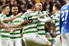 10/02/19 SCOTTISH CUP 5TH ROUND.CELTIC V ST JOHNSTONE.CELTIC PARK - GLASGOW.Scott Brown celebrates with teammates after scoring to make it 2-0.