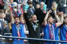 Scottish Cup Final 1 SA : Inverness Caledonian Thistle v Falkirk Saturday 30th May 2015 Kick-Off 3PM Hampden Park Glasgow...Inverness Caledonian Thistle captain Graeme Shinnie lifts the Scottish Cup after winning Falkirk 2-1..Picture by Stewart Attwood..