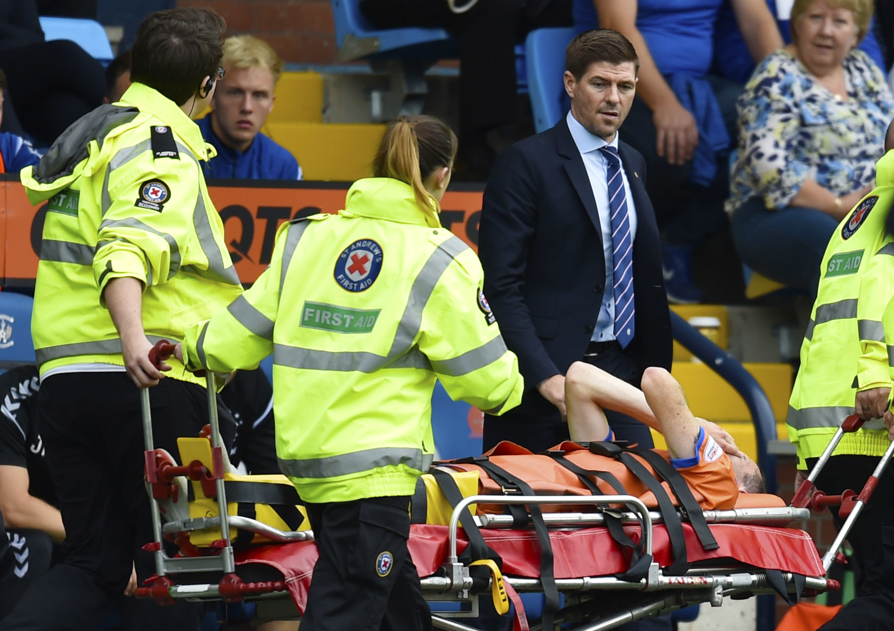 Rangers manager Steven Gerrard looks on as Jamie Murphy is stretchered off at Rugby Park
