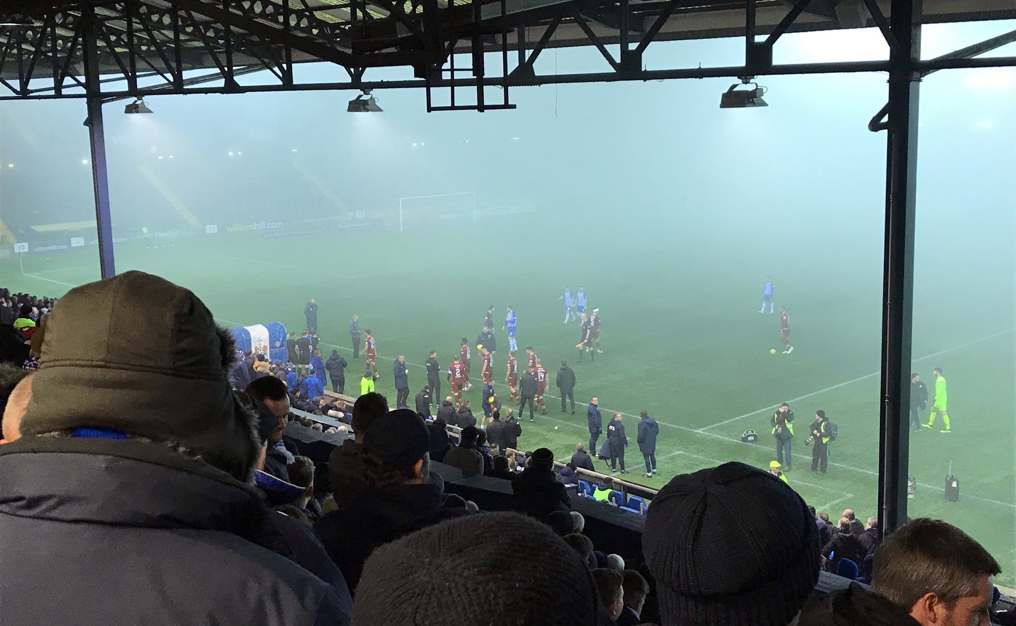 The match at Rugby Park was abandoned due to fog.