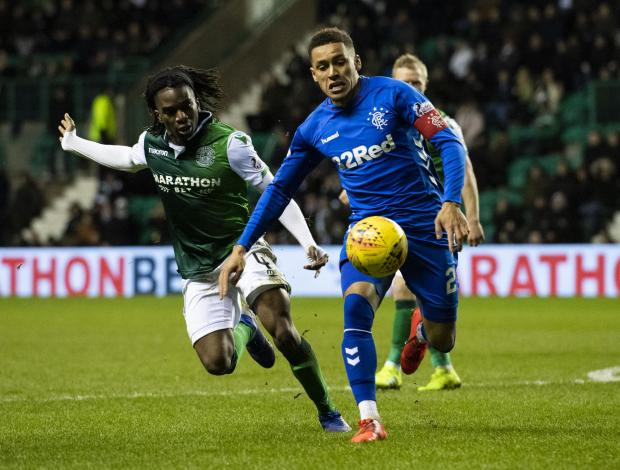 Evening Times: Stephane Omeonga challenges James Tavernier