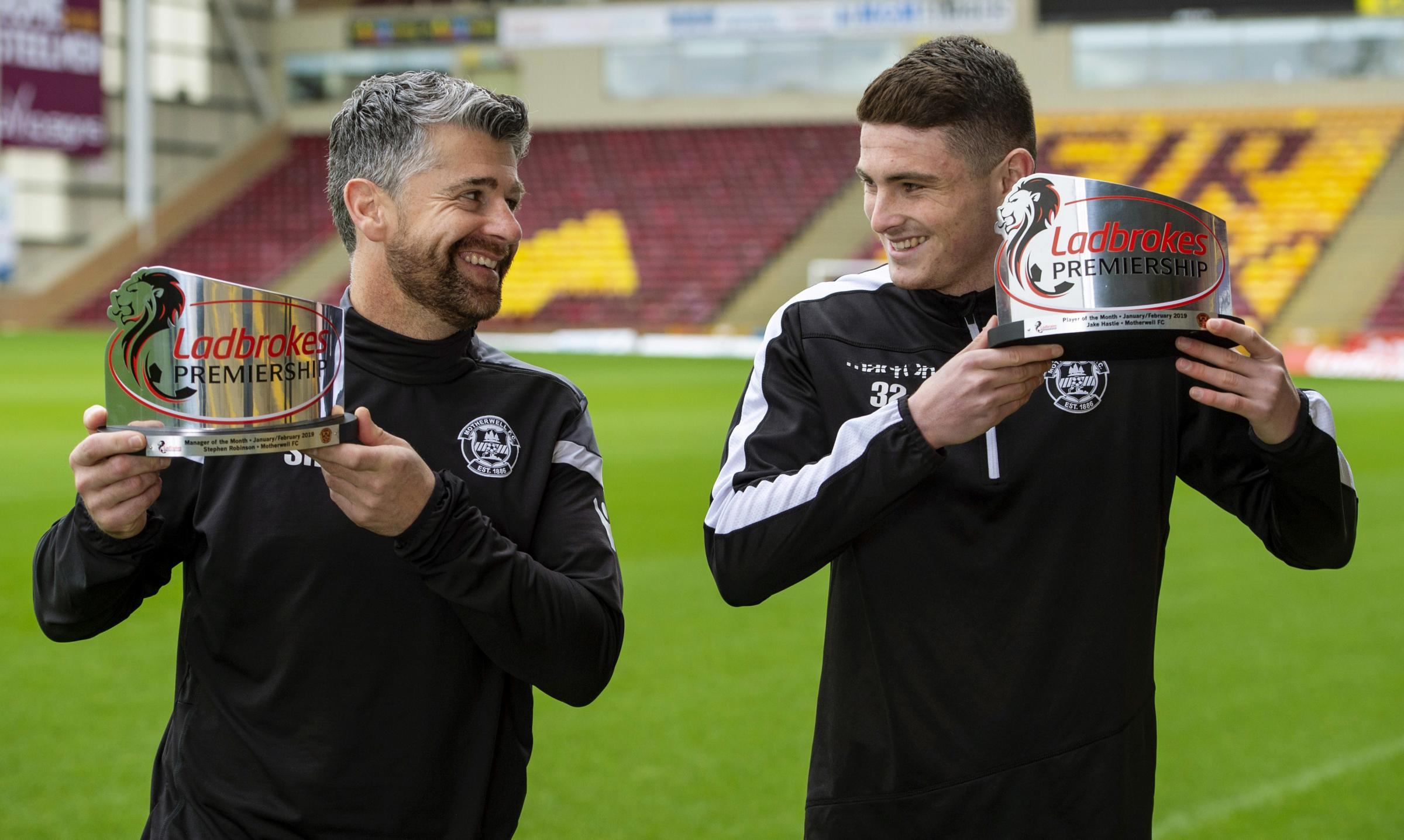 08/03/19.FIR PARK - MOTHERWELL.Motherwell manager Stephen Robinson and Jake Hastie are presented with the Ladbrokes Premiership Manager and Player of the Month awards for February.