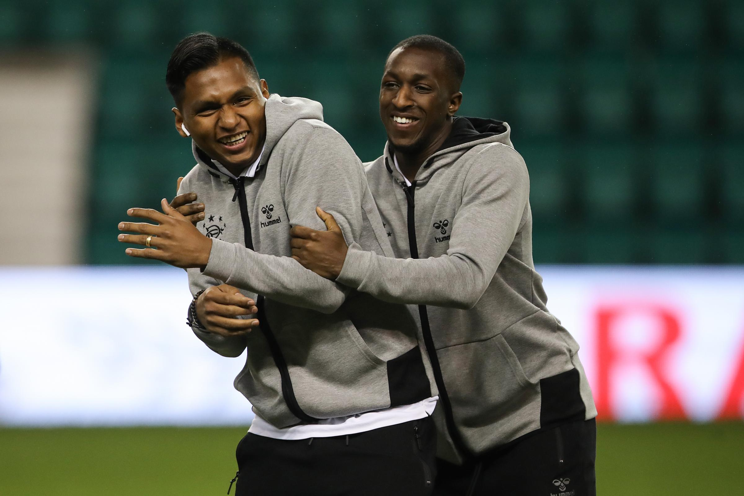 Alfredo Morelos and Glen Kamara share a joke
