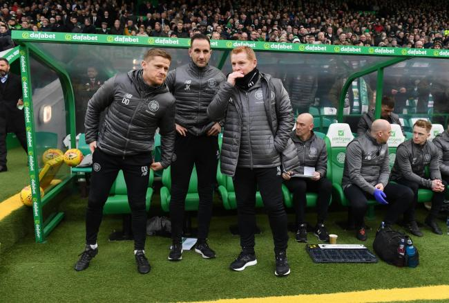Celtic first team coach Damien Duff, left, assistant manager John Kennedy, centre, and manager Neil Lennon, right.