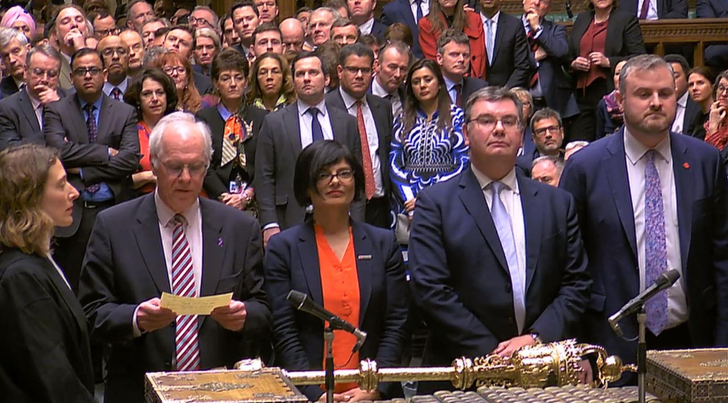 MPs announcing the Brexit result in the House of Commons, London, where they rejected the GovernmentÕs Brexit deal by 391 votes to 242. PRESS ASSOCIATION Photo. Picture date: Tuesday March 12, 2019. See PA story POLITICS Brexit. Photo credit should