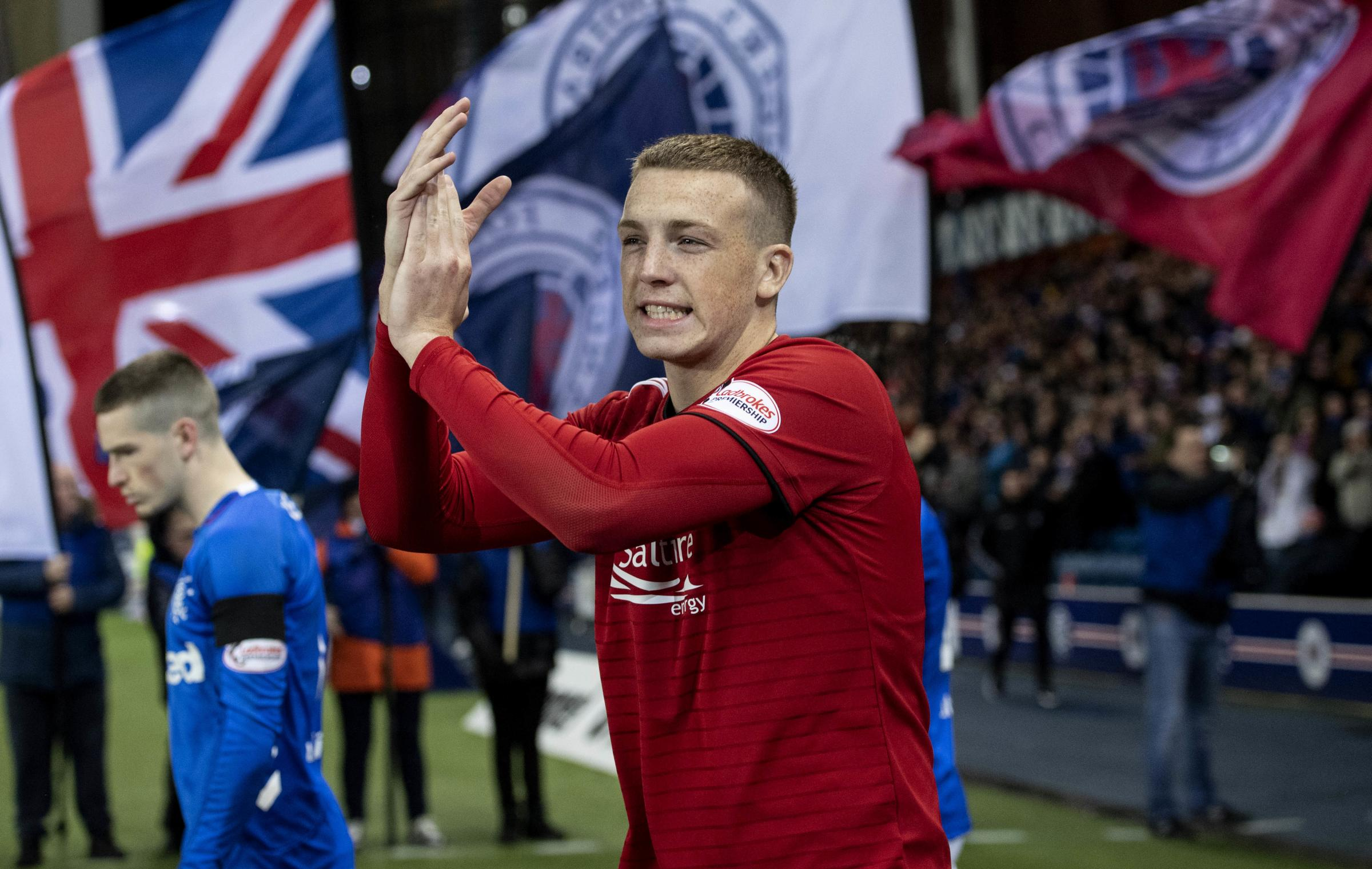 Aberdeen's Lewis Ferguson applauds the fans as he walks onto the pitch
