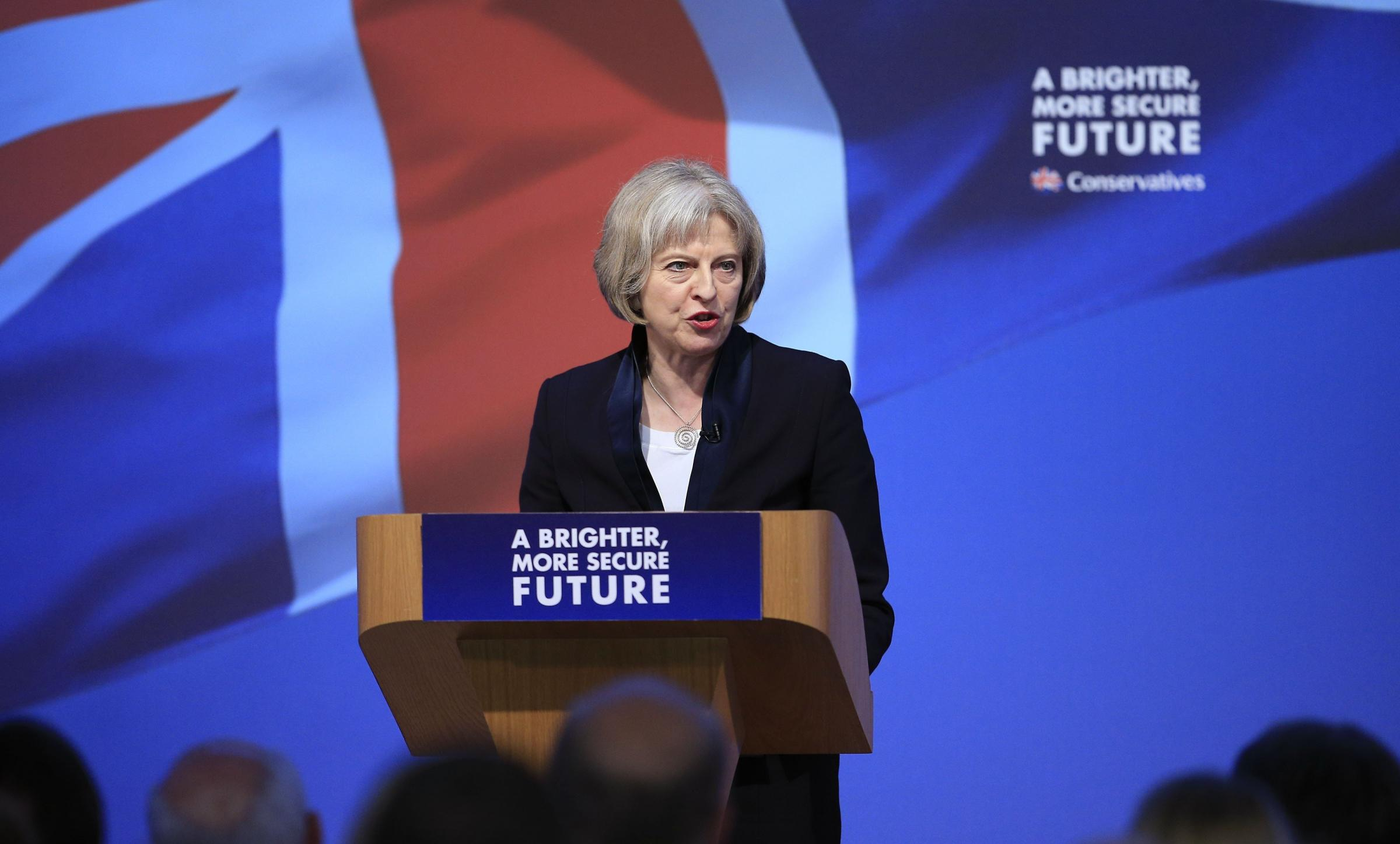 Home Secretary Theresa May speaking at University Technical College in Swindon at the launch of the Conservative Party manifesto. PRESS ASSOCIATION Photo. Picture date: Tuesday April 14, 2015. See PA story ELECTION Main. Photo credit should read: Jonathan