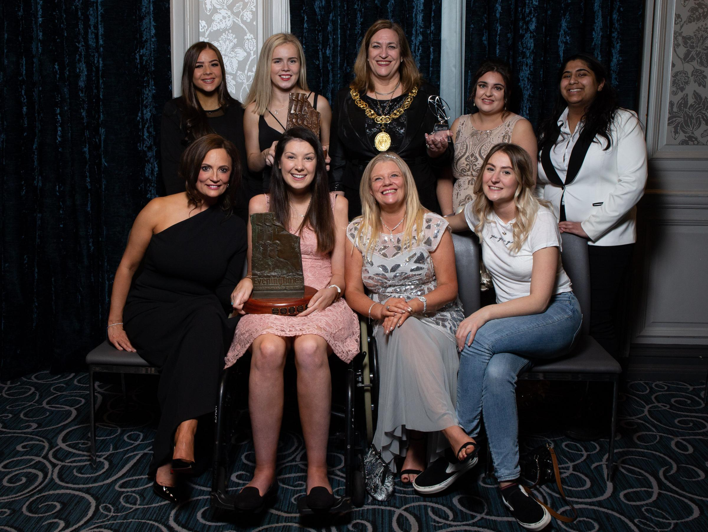 GLASGOW, SCOTLAND - MARCH 14: Lucy Lintott wins the 2019 Scotswoman of the Year award with Young Scotswoman of the year Maria Lyle and Provost Eva Bolander accepting Editors Choice award for the Woman's Equal Pay Campaign withe the rest of our finalis
