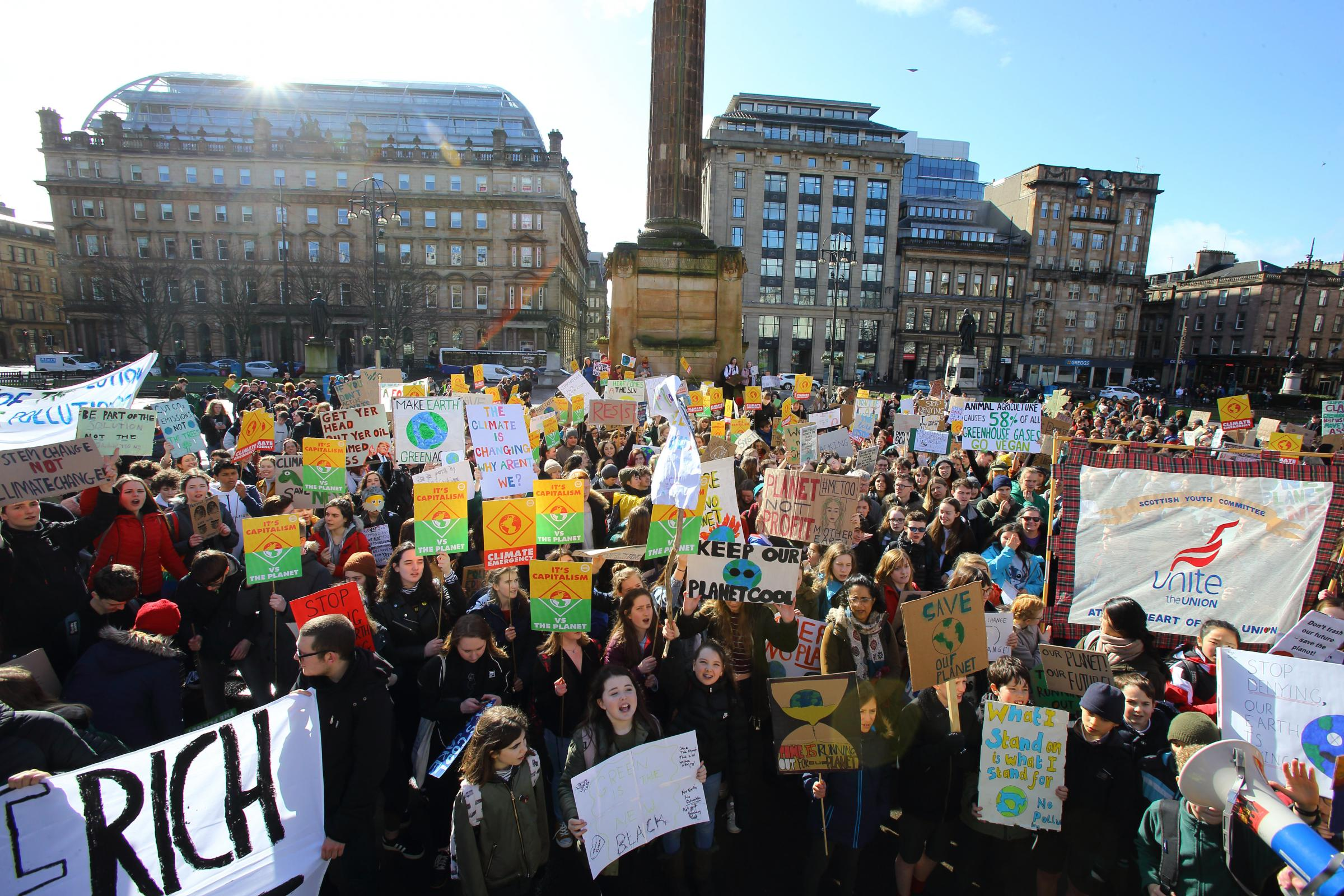 Hundreds of youngsters gather in Glasgow's George Square to protest over 'Government inaction'