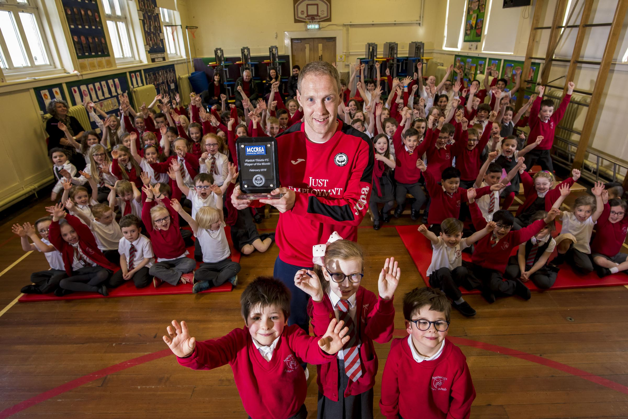 Partick Thistle sponsor McCrea Financial Services ran a competition for the club's February Player of the Month presentation and selected Auchinloch Primary school in North Lanarkshire to present Steven Anderson's award.