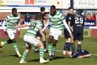 Odsonne Edouard celebrates after firing home Celtic's winner in the 96th minute at Dundee.