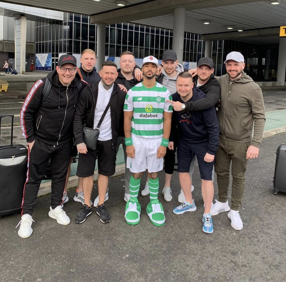 Shay Logan dressed in full Celtic kit by pals for stag do