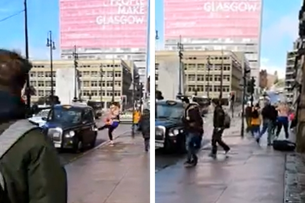 Glasgow taxi driver and woman get into violent fight near George Square in shocking video