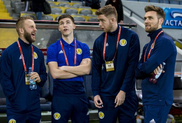 Evening Times: Johnny Russell, Kieran Tierney, Stuart Findlay and Stephen O'Donnell