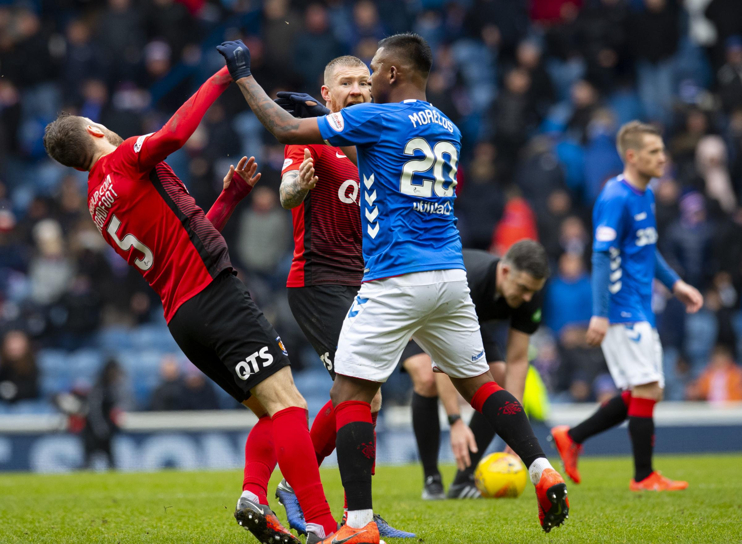 16/03/19 LADBROKES PREMIERSHIP.RANGERS V KILMARNOCK.IBROX - GLASGOW.Rangers Forward Alfredo Morelos (Right) and Kirk Broadfoot come together at Half Time.