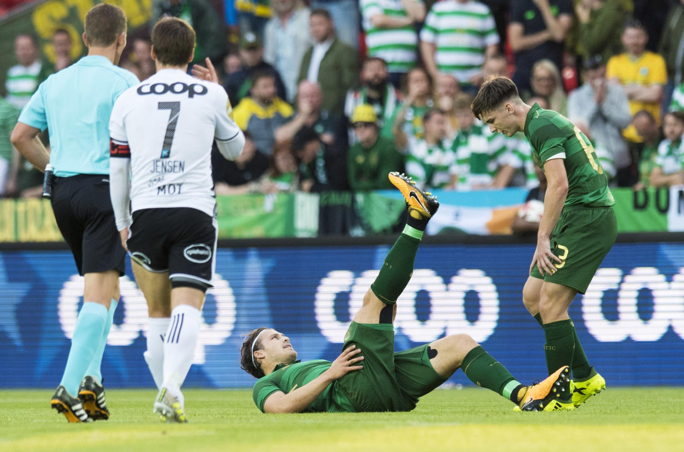 Erik Sviatchenko suffers a first half injury against Rosenborg in what proved to be his final game for the club