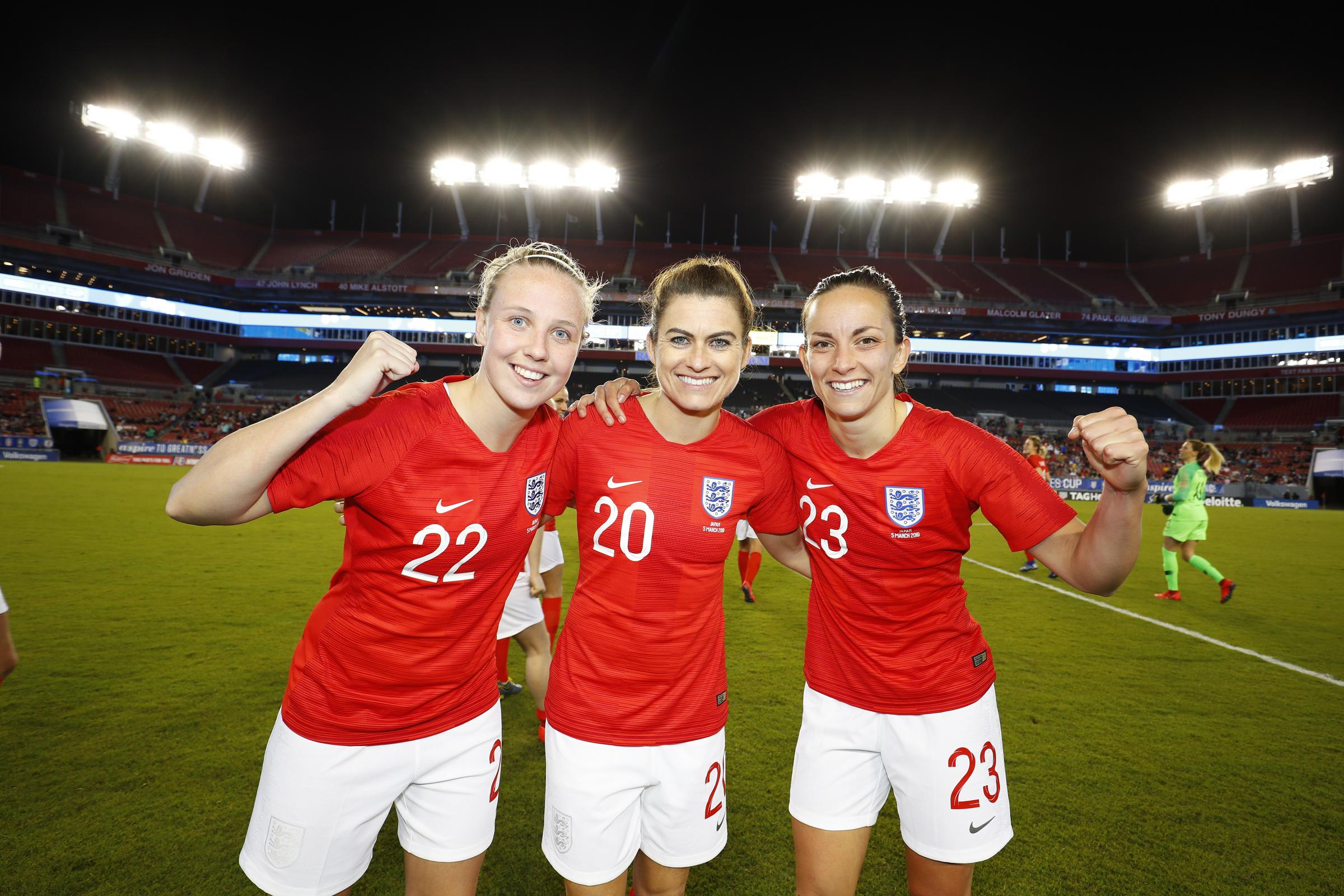 Beth Mead, Karen Carney and Lucy Stanifort celebrate winning the SheBelieves Cup