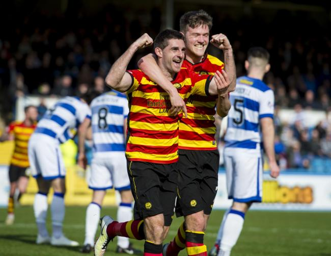 30/03/19 LADBROKES CHAMPIONSHIP.MORTON V PARTICK THISTLE.CAPPIELOW - MORTON.Partick's Kris Doolan celebrates with Blair Spittal (right) as he makes it 1-0.