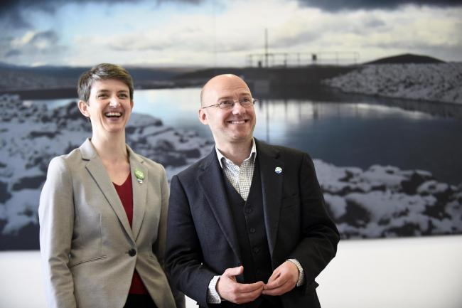 Scottish Greens co-convenors Patrick Harvie and Maggie Chapman (pictured) during a visit to Fife College in Rosyth to see the future of renewable energy as students develop the technical skills needed for Scotland's renewables industry. Campaignin
