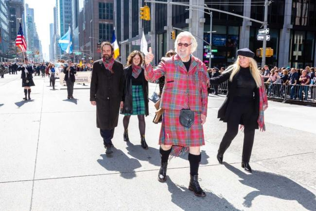 'Mon the Govan': Sir Billy Connolly chants with Glaswegians at New York Tartan Day Parade