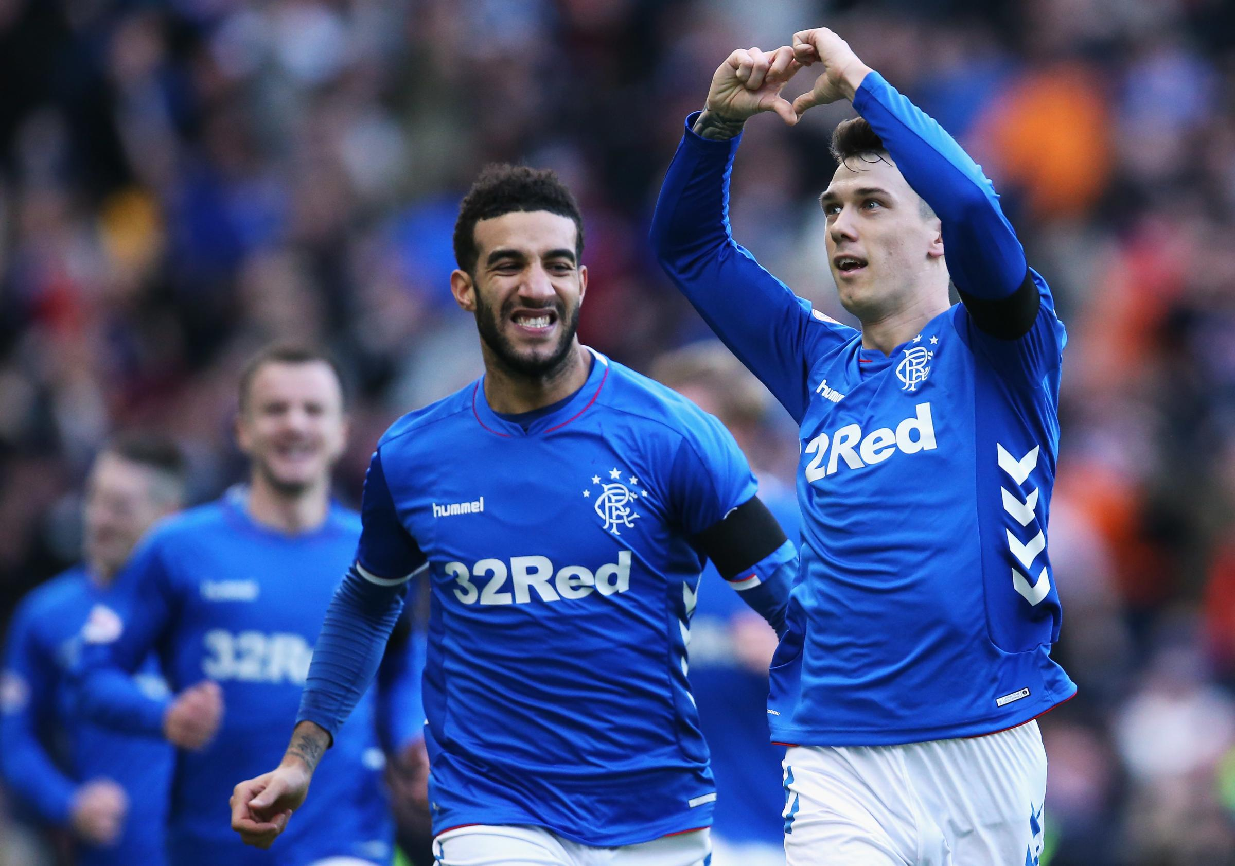 Ryan Jack celebrates against Celtic