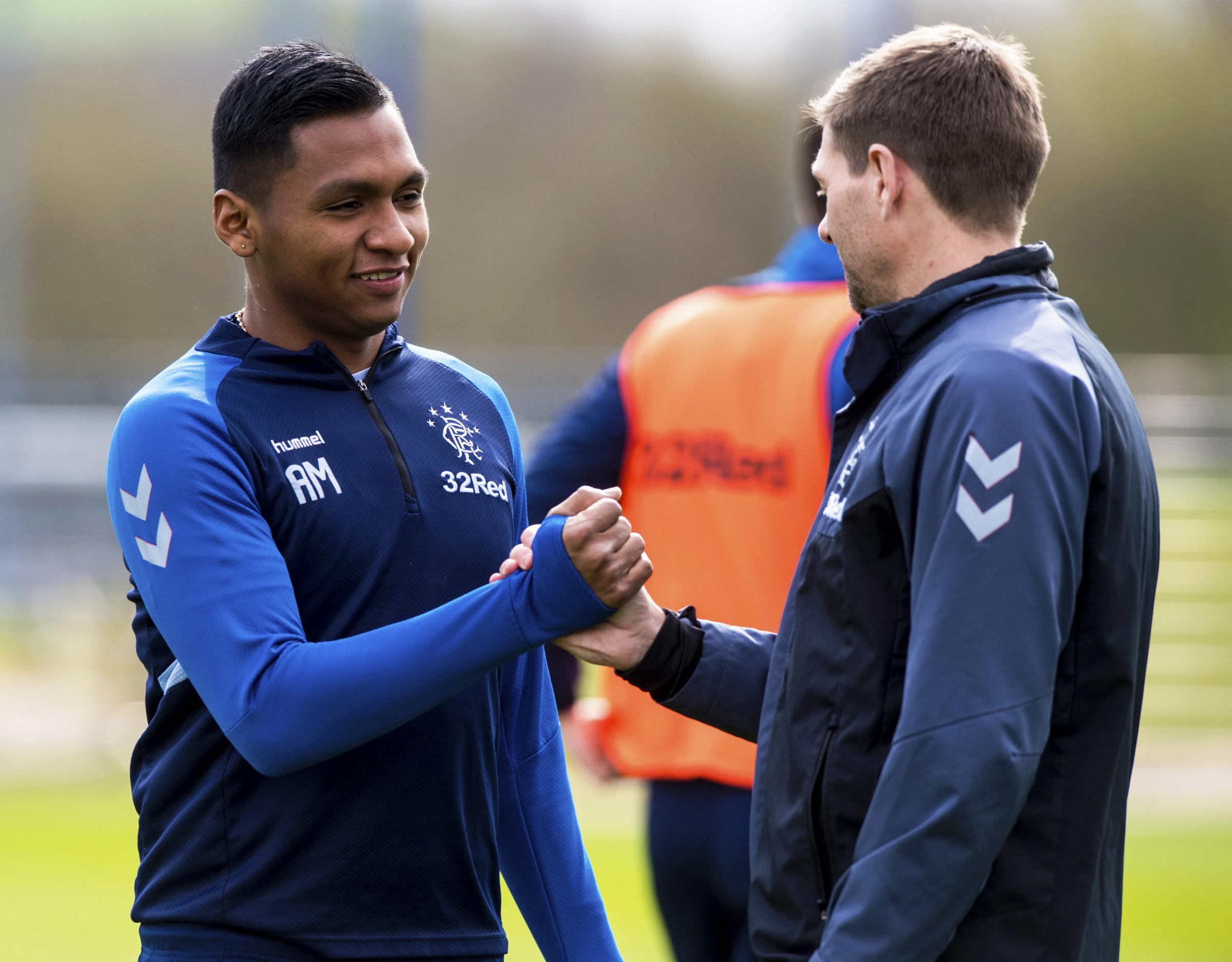 Rangers manager Steven Gerrard (right) and Alfredo Morelos