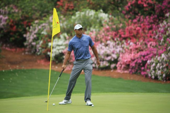 AUGUSTA, GEORGIA - APRIL 08:  Tiger Woods of the United States looks on during a practice round prior to The Masters at Augusta National Golf Club on April 08, 2019 in Augusta, Georgia. (Photo by Andrew Redington/Getty Images).