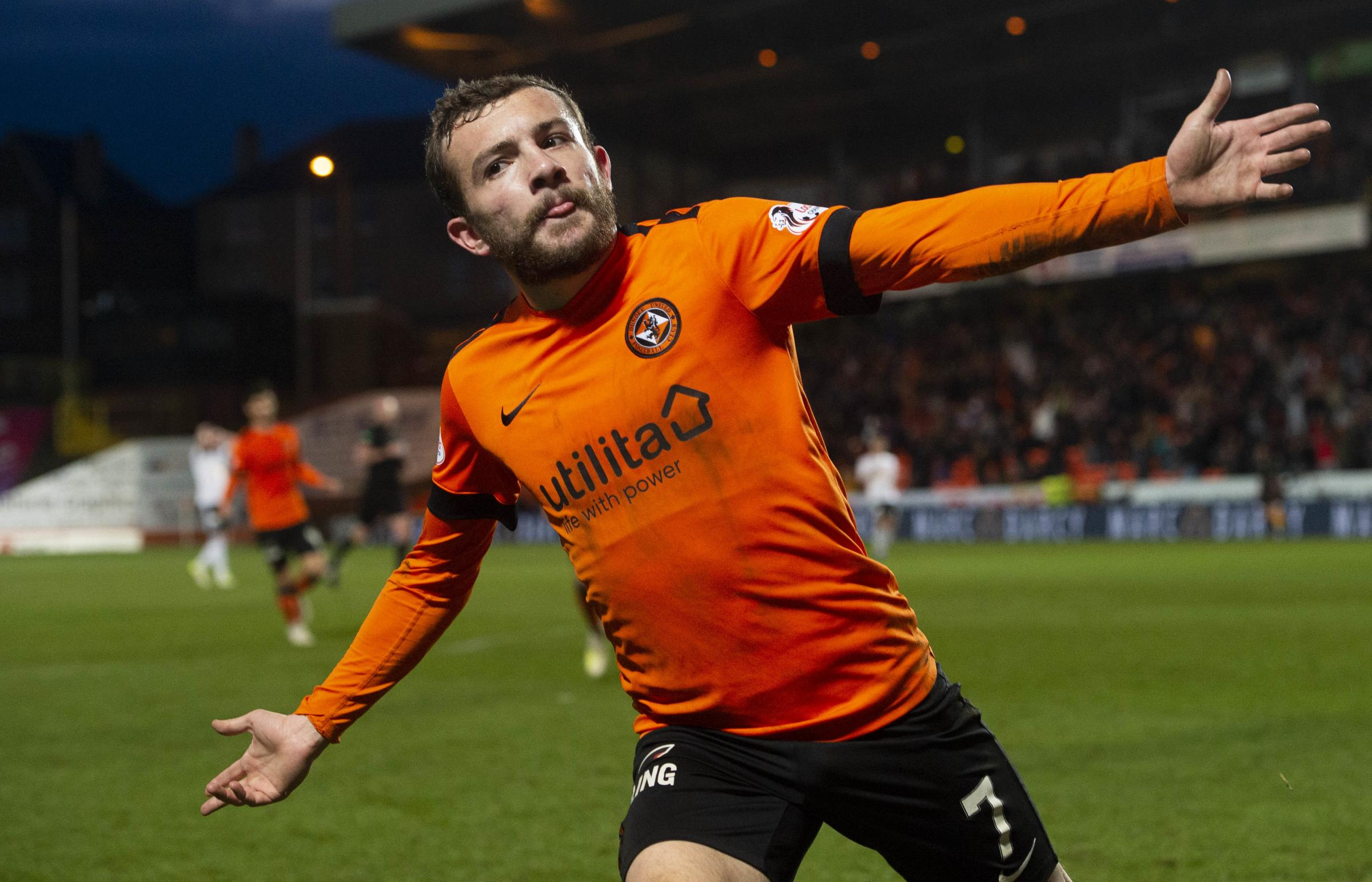 Dundee United's Paul McMullan celebrates his goal to make it 2-1