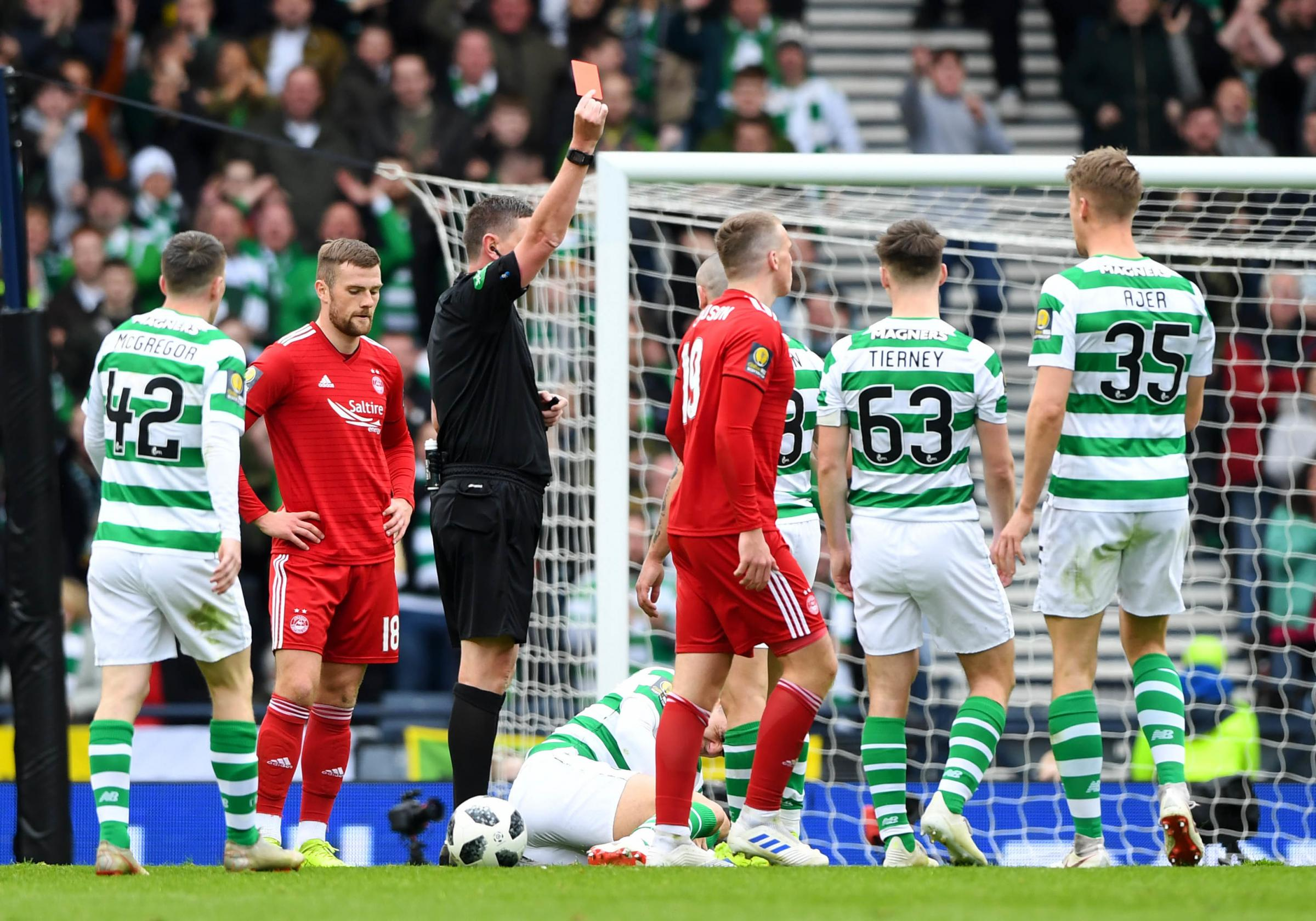 Lewis Ferguson was one of two Aberdeen players sent off against Celtic, while manager Derek McInnes was sent to the stand.