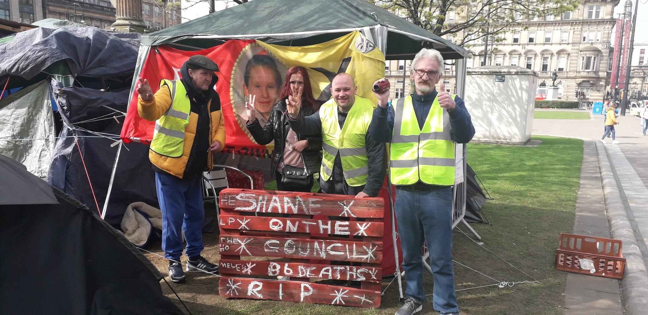 Glasgow's George Square protest continues despite homeless people being given accommodation