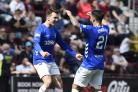 Rangers' Ryan Jack celebrates with Daniel Candeias after scoring his side's second goal of the game